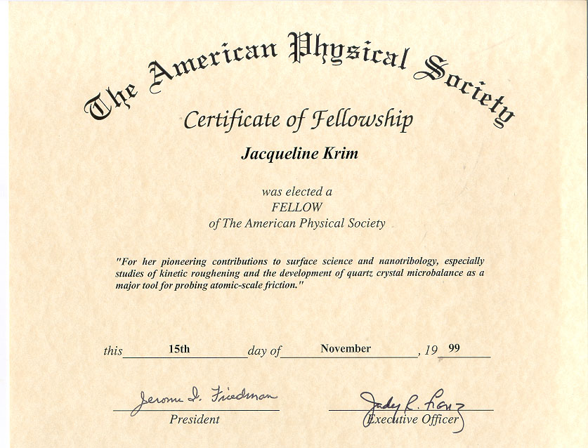 thesis award of the american physical society Dissertation & thesis defense rit graduate wins prestigious undergraduate award from the american the american physical society presents the annual award.